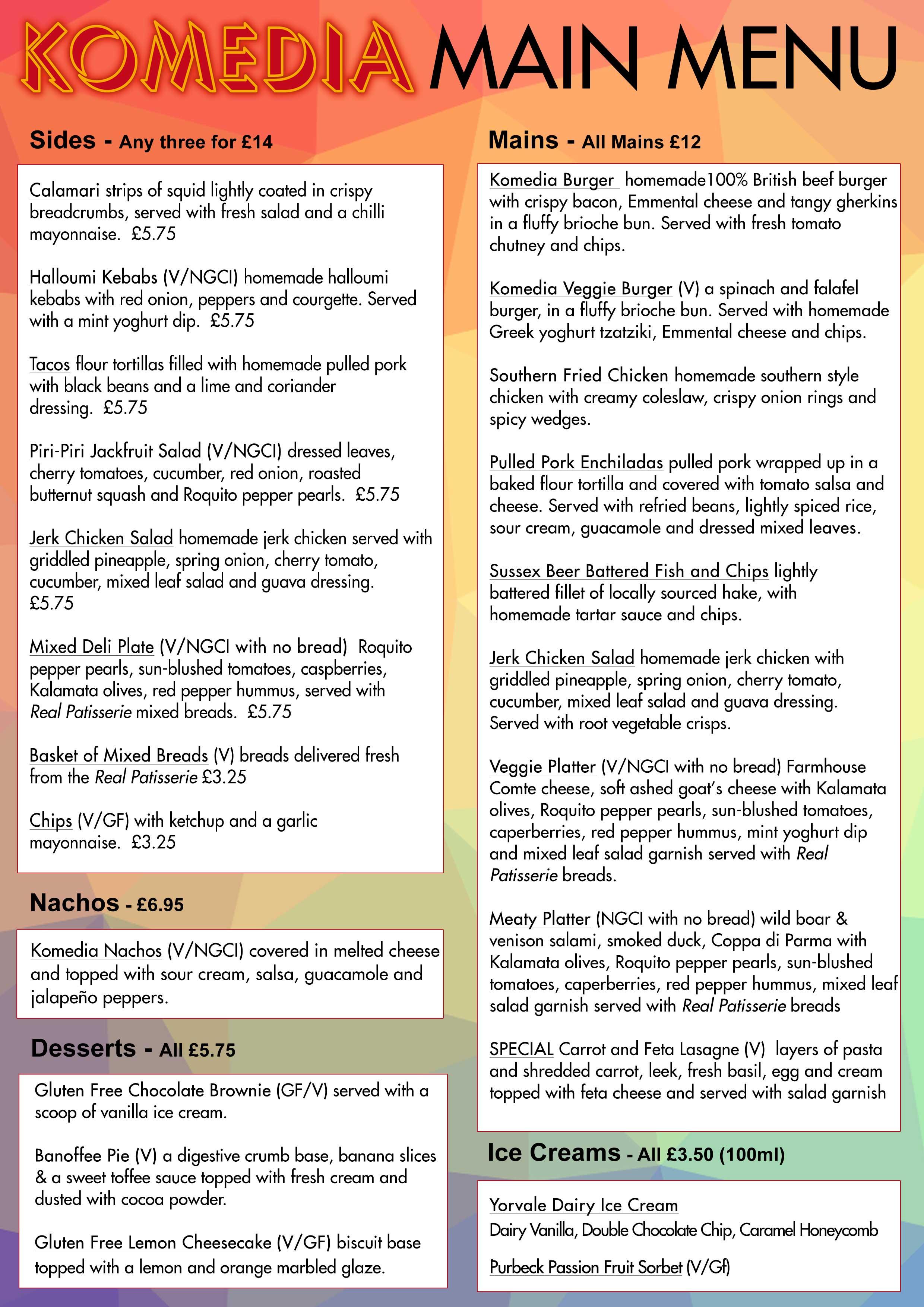 offers komedia brighton view the main menu